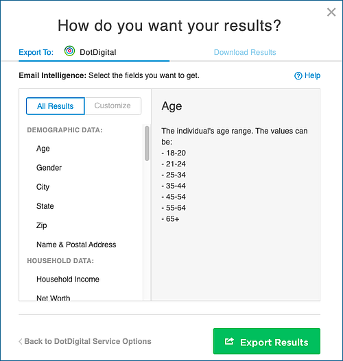 DotDigital Email Intelligence Export Options