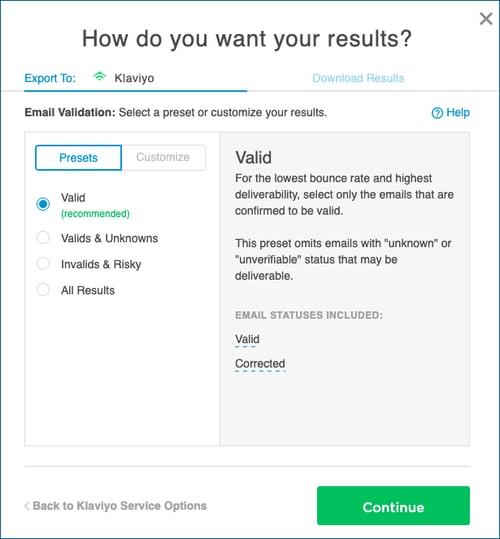 Klaviyo Email Validation Results Options InstantData