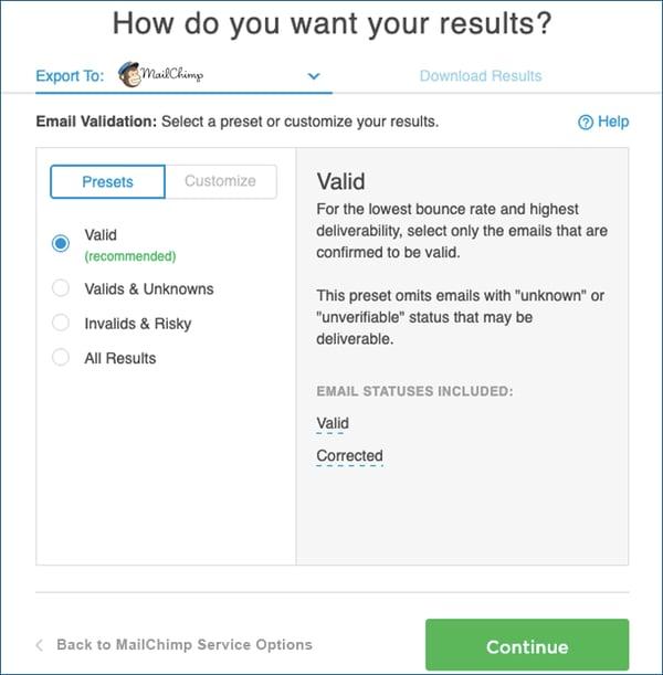 Mailchimp-EValOptions